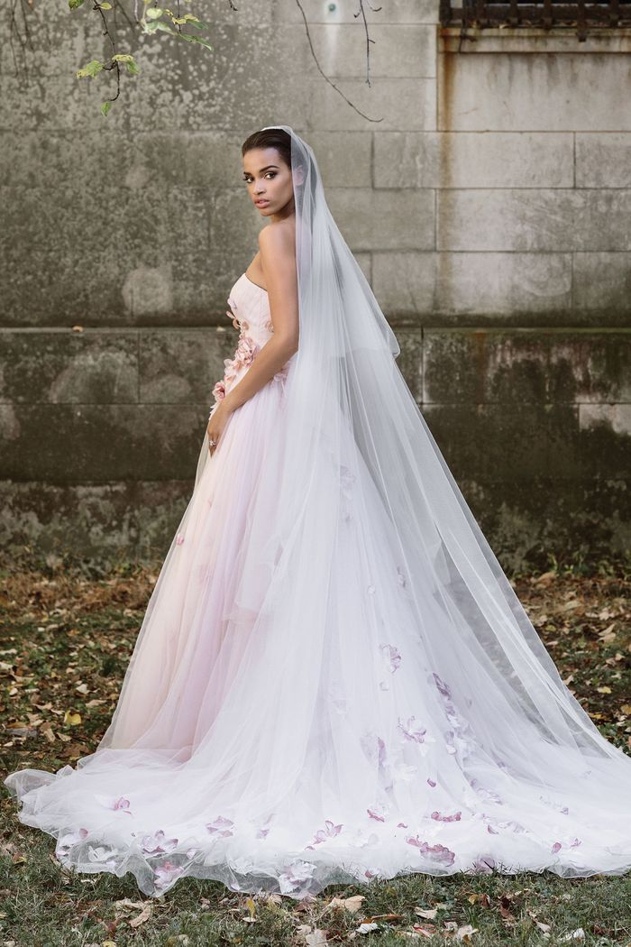 Justin Alexander Signature Cathedral Length Veil with Colored Florals