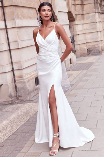 Adore by Justin Alexander Style 11173 Luana Ruched Crepe Fit and Flare Dress with Criss-Cross Back and Slit
