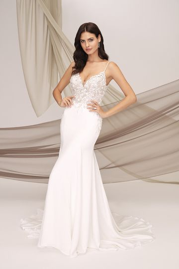 Justin Alexander Signature Style 99136 TOULON Crepe Mermaid Dress with Beading and Delicate Floral Appliques