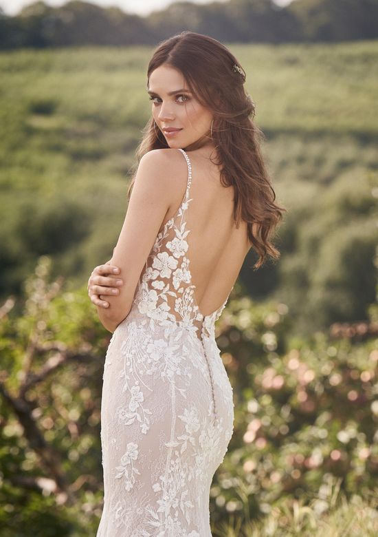 Lillian West Style 66131 Low Back Dress with Chantilly and Beaded Lace Appliqués