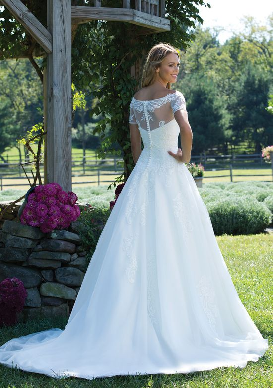 Sincerity Bridal Style 3989J Illusion Tulle and Lace Off-the-Shoulder Jacket