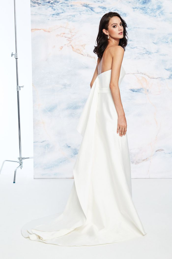 Justin Alexander Signature Style 99060 Straight Clean Silk Mikado Dress with Flare Back