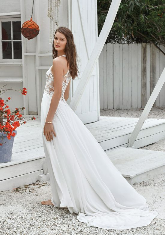 Lillian West Style 66035 A-line Gown with Illusion Lace V-Neck Bodice