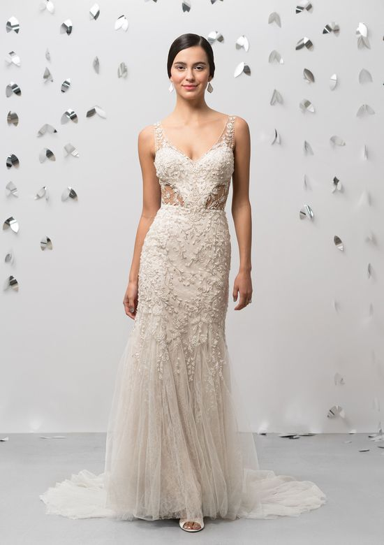 Justin Alexander Signature Style 99013 V-Neck Fit and Flare Embroidered Gown