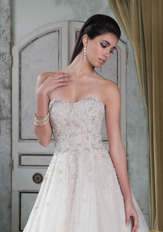 Justin Alexander Signature Style 9807 Strapless Beaded Tulle and Organza Ball Gown