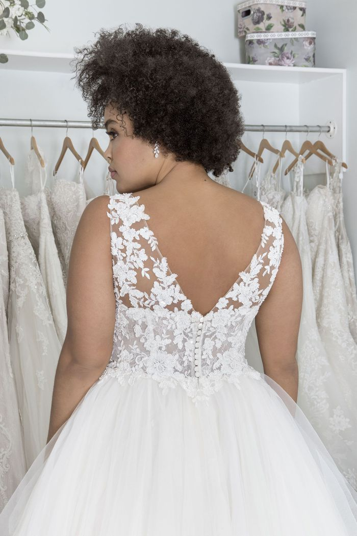 Sincerity Bridal Style 44205PS Plunging V-Neck Plus Size Ball Gown with Tulle Handkerchief Skirt