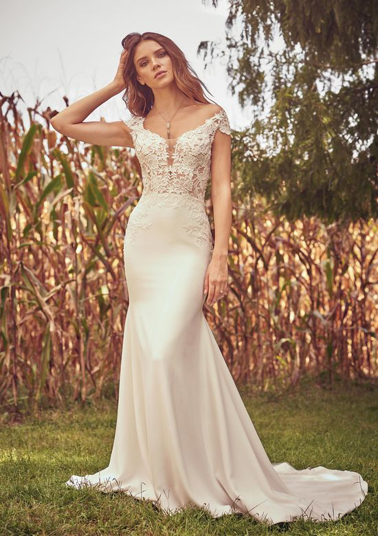 Lillian West Style 66072 Lace and Crepe Fit and Flare Gown