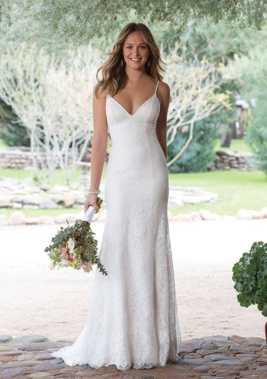 Sweetheart Gowns Style 1145 Allover Chantilly Lace V-Neck Gown with Spaghetti Straps