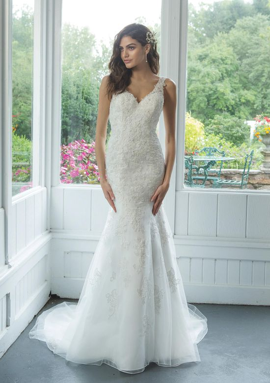 Sweetheart Gowns Style 11067 V-Neckline with Beaded Lace Trumpet Gown