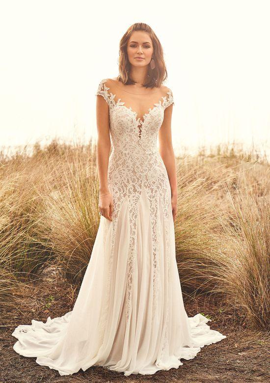 Lillian West Style 66107 Corded Cotton Lace Slim A-Line Gown