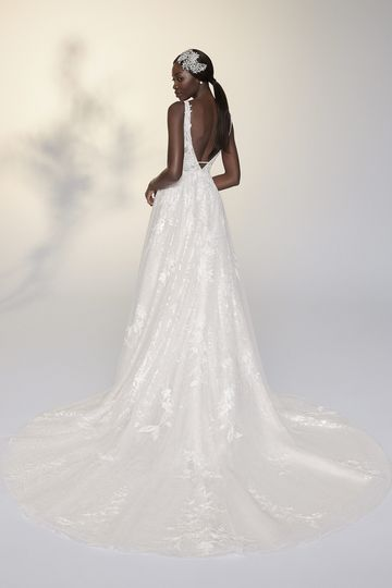 Justin Alexander Signature Style 99208 Yvonne Plunging V-Neck A-Line Gown with Sequined Underlay