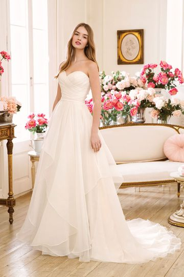 Sweetheart style 11073 Strapless Sweetheart Asymmetric Pleated Organza A-line Gown
