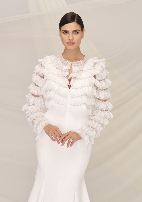 Justin Alexander Signature Style 99115J PALERMO JACKET Jacket with Tiered Beaded Ruffle Trim and Beaded Crew Neck