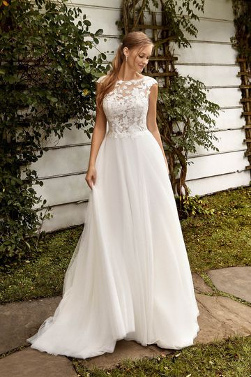 Sincerity Bridal Style 44272 Sabrina Neckline A-Line Bridal Gown with Cap Sleeves and V-Back