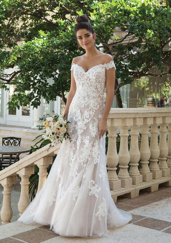 Sincerity Bridal Style 44075 Off the Shoulder A-line Gown with Embroidered Lace
