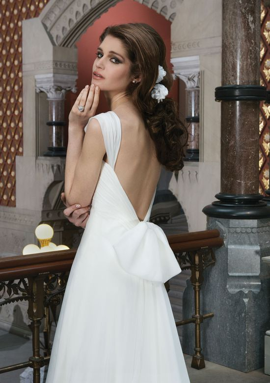 Justin Alexander Style 8710 Silk chiffon A-line dress accented by a sweetheart neckline