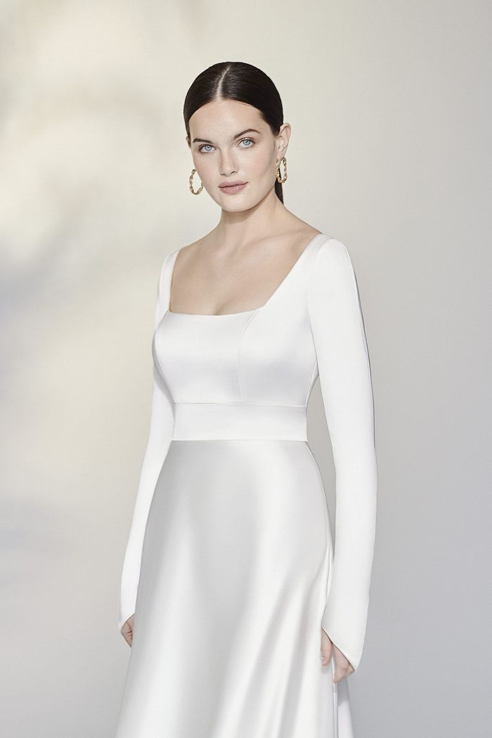 Justin Alexander Signature Style 99194 Copeland Square Neck Charmeuse A-Line Gown with Long Sleeves
