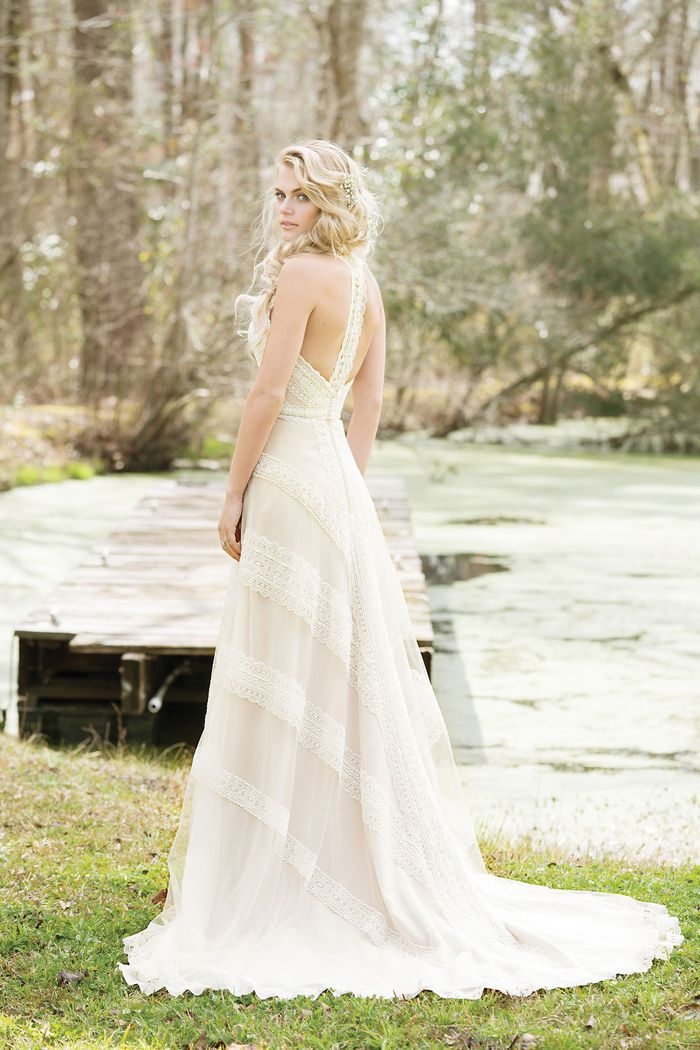 Lillian West Crocheted Lace A-line Gown with Racer Back