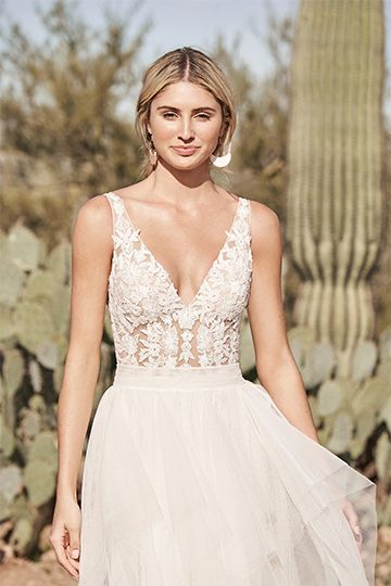 Lillian West Style 66161 Lace A-Line Gown with Square Neckline and Scoop Back