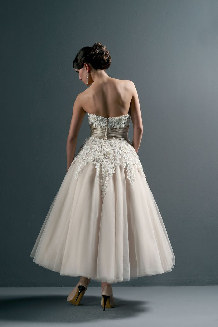 Justin Alexander Style 8465 Floral and Tulle Tea Length Wedding Dress
