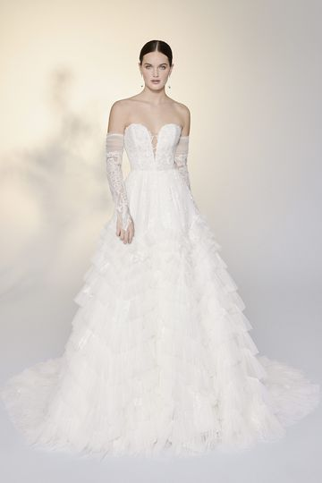 Justin Alexander Signature Style 99201 Mirella Strapless English Net Ruffle Skirt Ball Gown