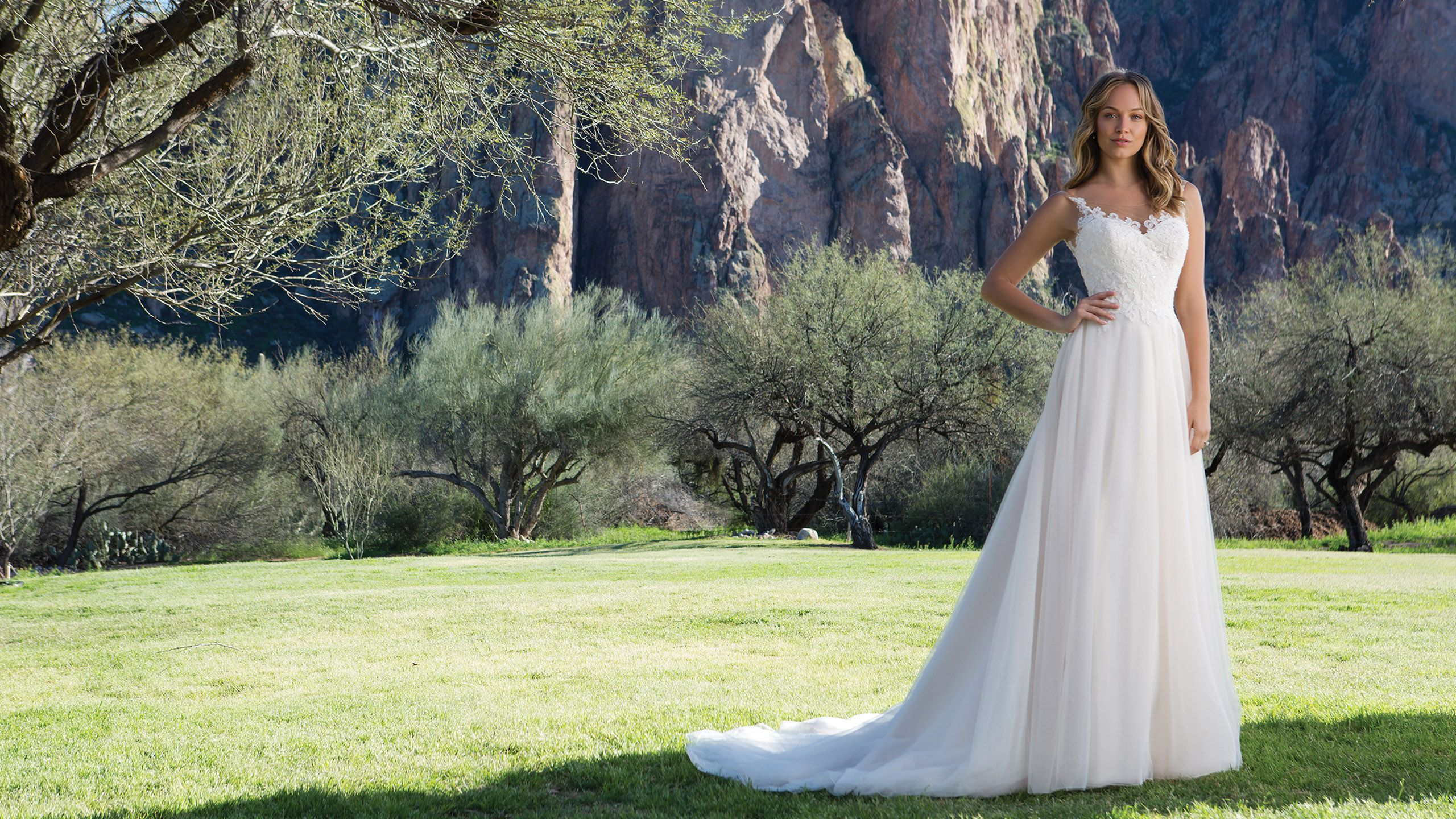 - Модель 1150: Платье А-силуэта из тюля с глубоким круглым вырезом на груди, отделанным кружевом