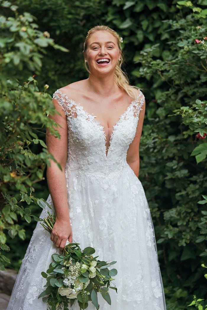 Justin Alexander Style 88048PS 3D Floral Off the Shoulder Plus Size Gown