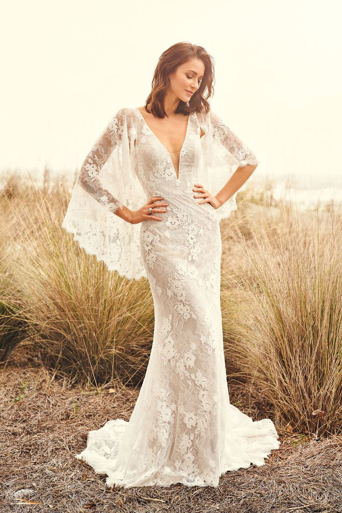 Lillian West Style 66112 Fit and Flare Gown with Flutter Draped Sleeves