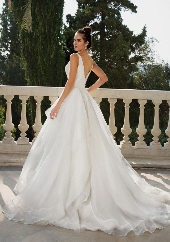 Justin Alexander Style 88093 Clean Ball Gown with Deep V Illusion Neckline