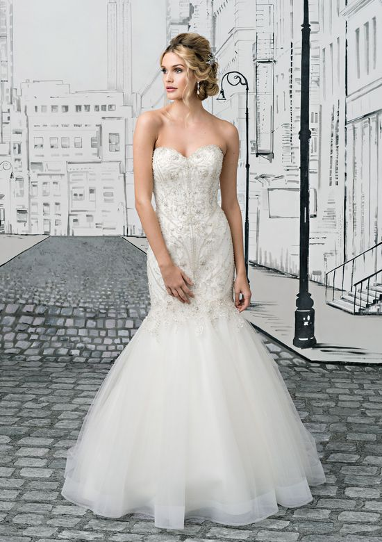 Justin Alexander  Geometric Crystal Beaded Bodice and Tulle Mermaid Skirt