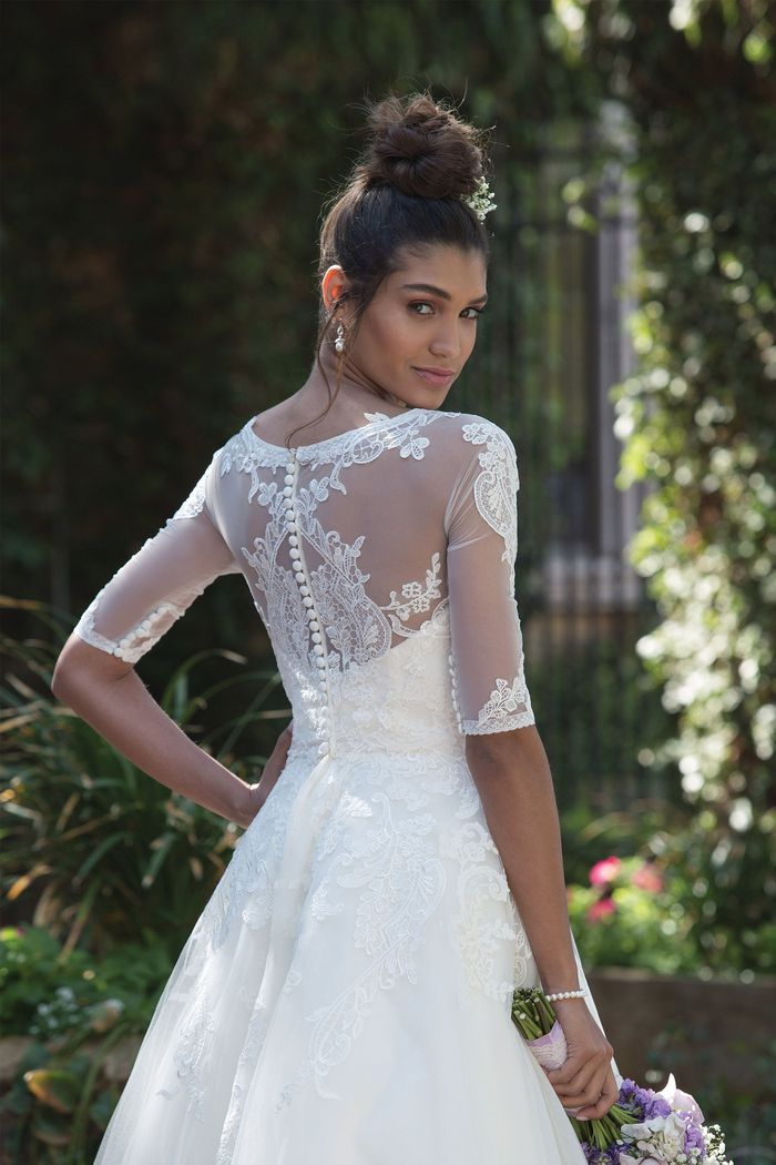 Sincerity Bridal Style 4000 Lace Trimmed Tea-Length Dress with Elbow Length Sleeve Jacket