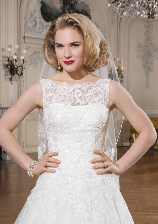 Justin Alexander Style 8630 Lace Ball Gown with Sabrina Neckline