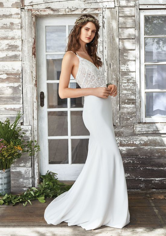 Lillian West Style 66032 Dual Spaghetti Strap Lace Bodice Fit and Flare
