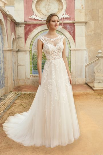 Sincerity Bridal Style 44254 Beaded Lace A-Line Gown with Cap Sleeves and Sabrina Neckline