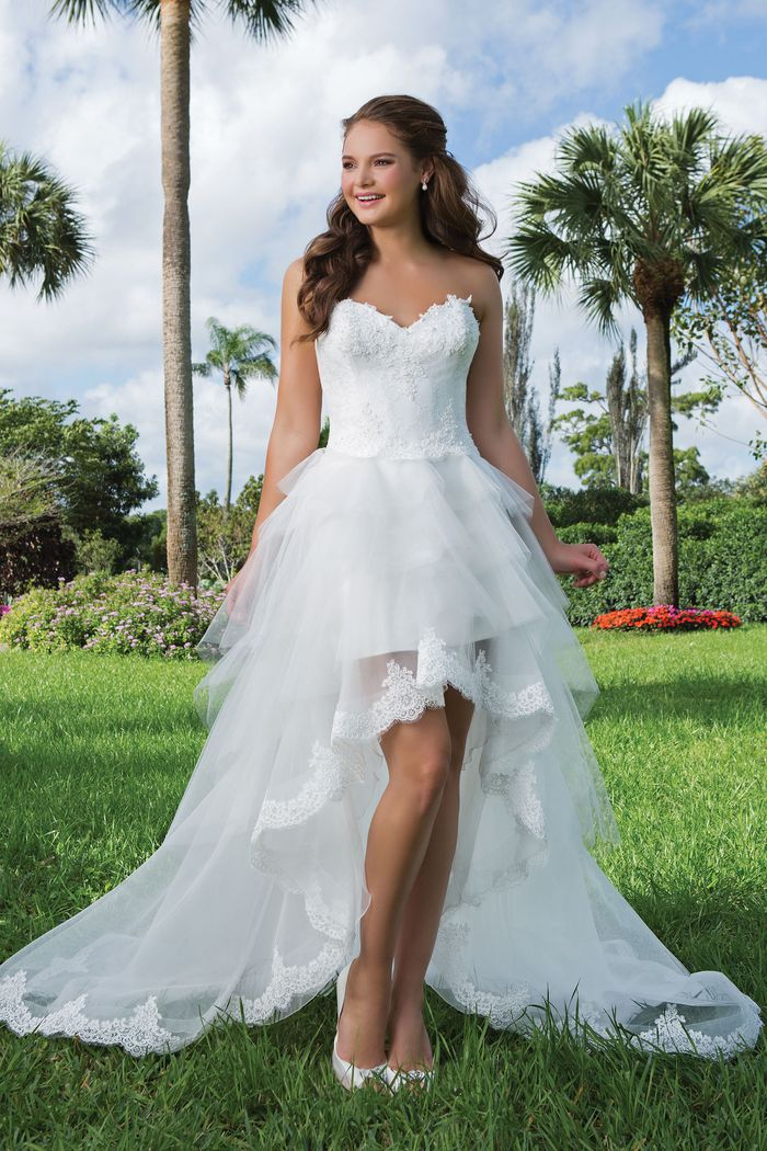 Sweetheart Gowns Style 6105 Beaded Lace, Tulle High-low ball gown complemented by a Sweetheart neckline