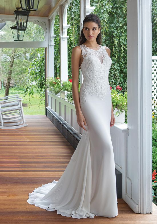Sweetheart Gowns Style 11055 Fit and Flare Venice Lace and Chiffon Gown with Racer Back Detail