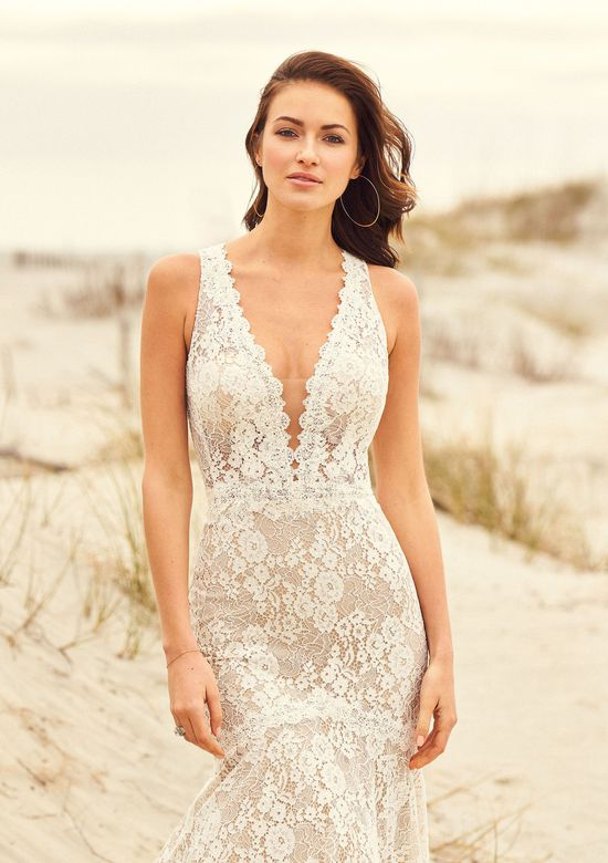 Lillian West Style 66102 Allover Corded Lace Gown with Deep V-Neckline