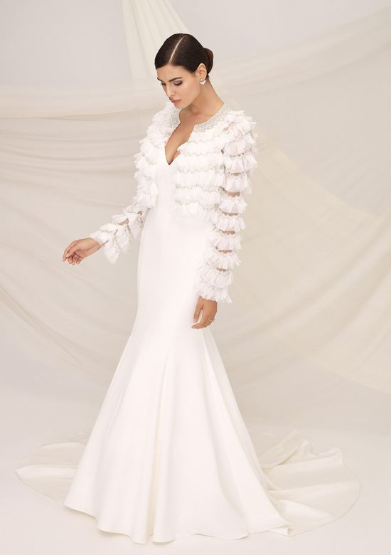 Justin Alexander Signature Style 99115 PALERMO Crepe Strapless Gown with Beaded Ruffle Trim Jacket
