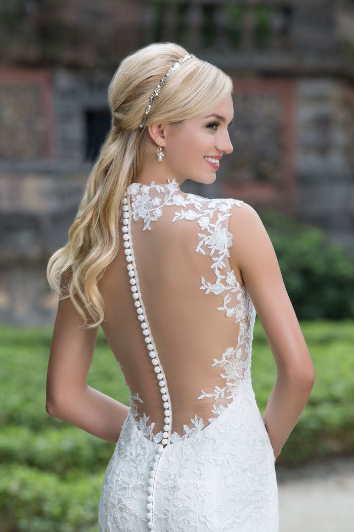 Sincerity Bridal Style 3885 Queen Anne and Illusion Back Lace Gown