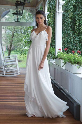 Sweetheart Gowns Style 11060 Ruffled Bikini Neckline with Asymmetrical Ruffle Chiffon Skirt