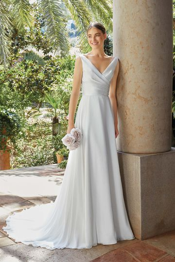Sincerity Bridal Style 44194 Clean A-Line Gown with Pleated Mikado Bodice and Chiffon Skirt