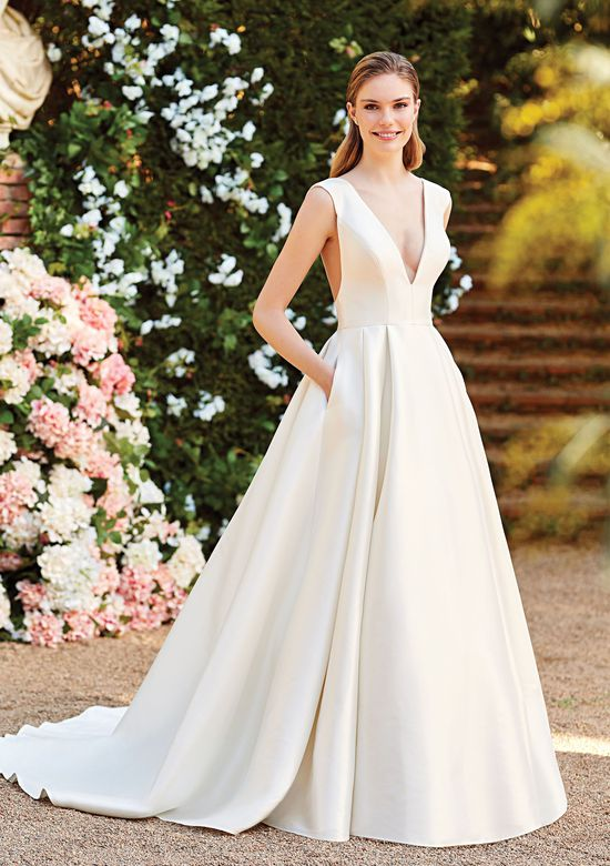 Sincerity Bridal Style 44155 Clean Ball Gown with Deep V-Neck and V-Back