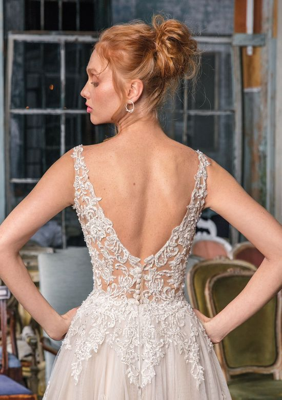 Justin Alexander Signature style 99010 Illusion Beaded Lace Tea Length Layered Ball Gown
