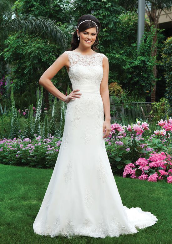 Sincerity Bridal Style 3730 Lace Sabrina Neckline Fit and Flare Dress