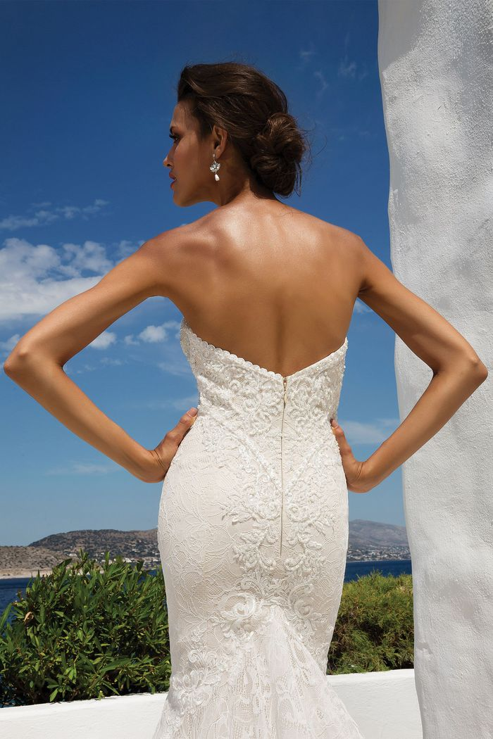 Justin Alexander Style 8967 Beaded Geometric Lace Fit and Flare Gown with Sweetheart Neckline