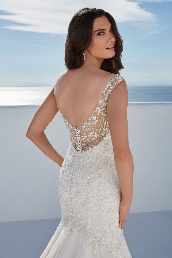 Justin Alexander Style 88180 Bess Beaded Mermaid Gown with Sparkle Tulle and Illusion Back Detail