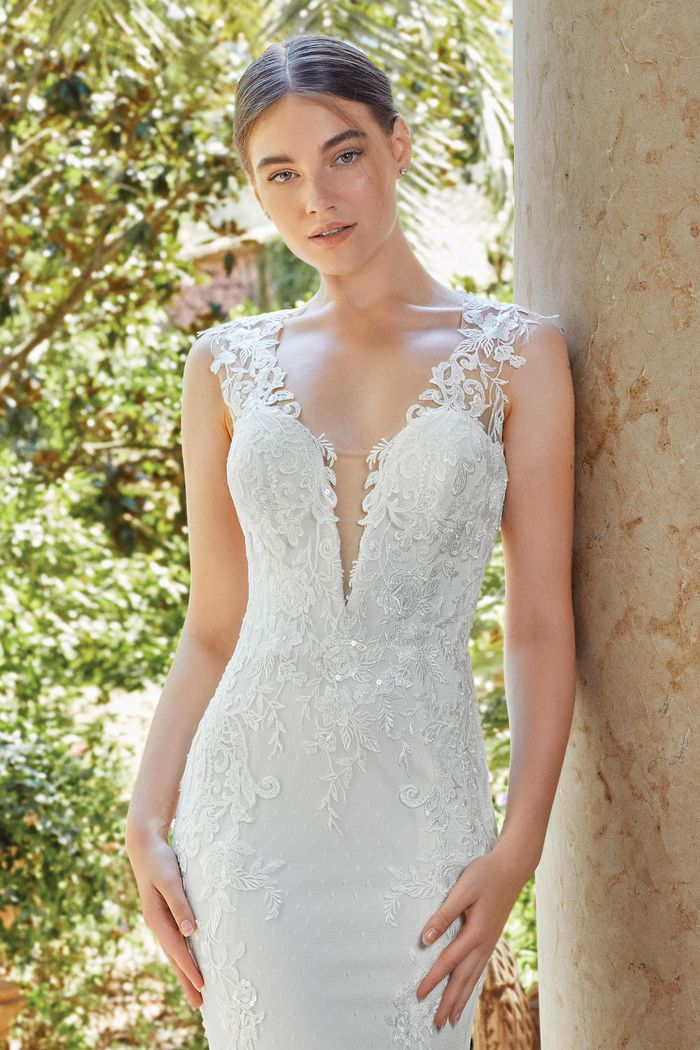 Sincerity Bridal Style 44204 Jersey Fit and Flare Gown with Lace and Point D'esprit