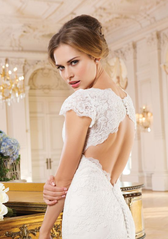 Lillian West Style 6345 Allover Lace Gown with Sabrina Neckline and Capped Sleeves