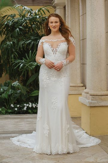 Sincerity Bridal Style 44059PS Illusion Lace Off-the-Shoulder Fit and Flare Plus Size Gown