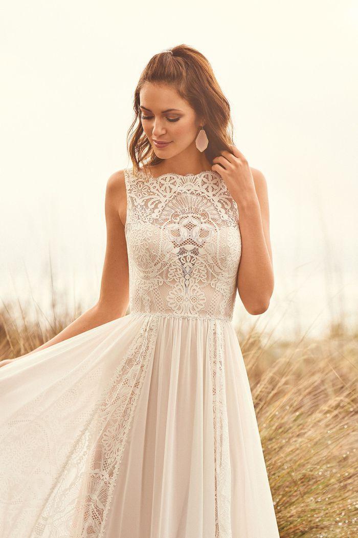 Lillian West Style 66109 Lace and Chiffon Panel A-Line Dress